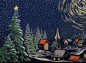 Painting of a snowy village surrounded by tall pine tries with lots of stars in the sky